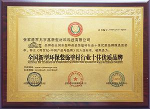 全國新型環保裝飾壁材行業十佳優質品牌證書