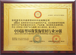 中國新型環保裝飾壁材行業30強證書